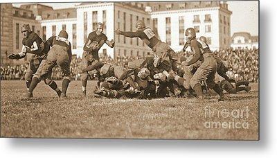 Football Play 1920 Sepia Metal Print by Padre Art
