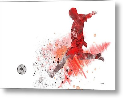 Football Player Metal Print by Marlene Watson