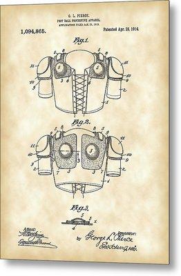 Football Shoulder Pads Patent 1913 - Vintage Metal Print by Stephen Younts