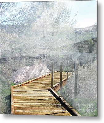 Footbridge In The Clouds Metal Print
