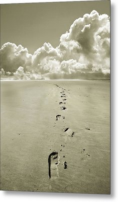 Footprints In Sand Metal Print by Mal Bray