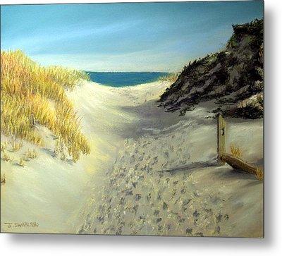 Footprints In The Sand Metal Print by Joan Swanson