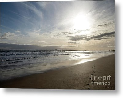 Metal Print featuring the photograph Footprints In The Sand by Linda Lees
