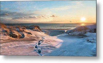 Metal Print featuring the photograph Footprints In The Snow by Robin-lee Vieira