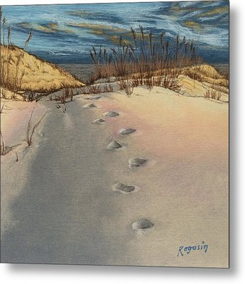 Footprints In The Snowy Dunes Metal Print