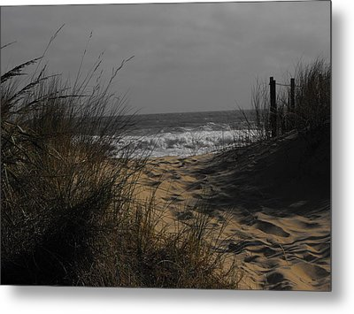 Footprints In Winter Sand Metal Print by Kathryn Blackman