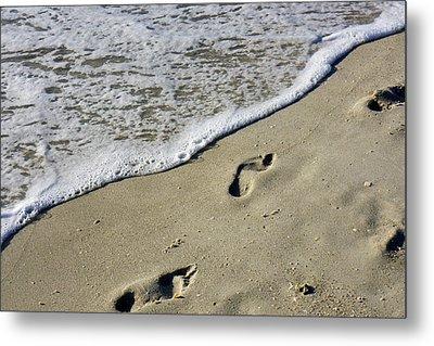 Footprints On The Beach Metal Print