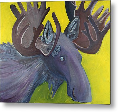 For Purple Mooses Majesty Metal Print by Amy Reisland-Speer