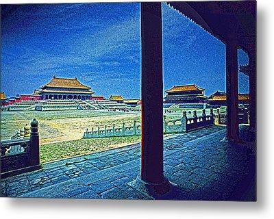 Forbidden City Porch Metal Print by Dennis Cox ChinaStock