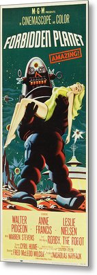 Forbidden Planet In Cinemascope Retro Classic Movie Poster Portraite Metal Print