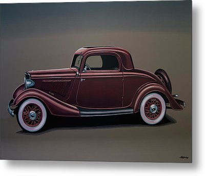 Ford 3 Window Coupe 1933 Painting Metal Print by Paul Meijering