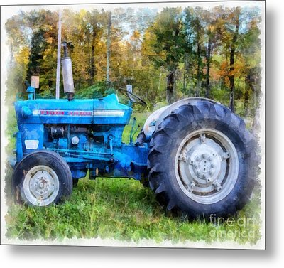 Metal Print featuring the painting Ford 4000 Vintage Tractor by Edward Fielding