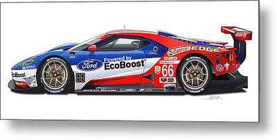 Ford Gt Le Mans Illustration Metal Print by Alain Jamar