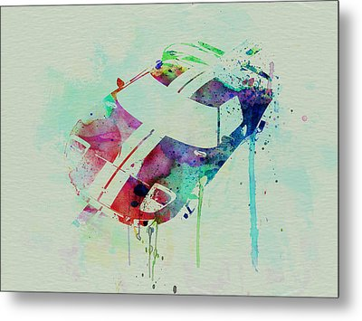 Ford Gt Top Watercolor  Metal Print by Naxart Studio