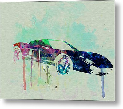 Ford Gt Watercolor 2 Metal Print by Naxart Studio