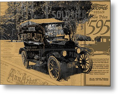 Ford Model T Made Using Found Objects Metal Print by Design Turnpike