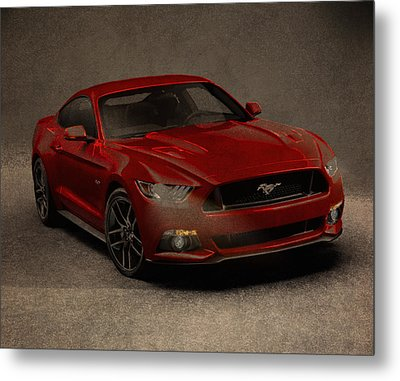 Ford Mustang 2015 Watercolor Pencil Charcoal Sketch On Worn Distressed Canvas Metal Print by Design Turnpike