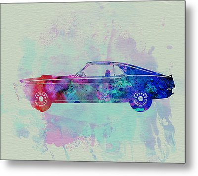 Ford Mustang Watercolor 1 Metal Print by Naxart Studio