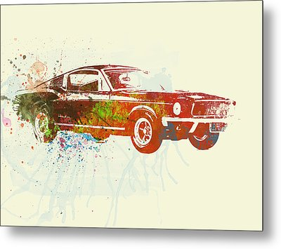 Ford Mustang Watercolor Metal Print by Naxart Studio