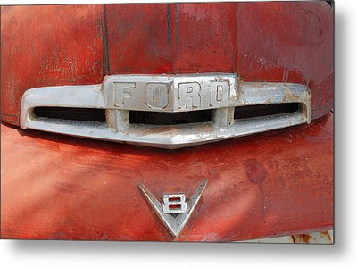 Ford V8 Emblem Metal Print