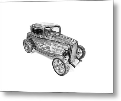 Ford V8 Roadster Custom 1932 Metal Print by Gabor Vida