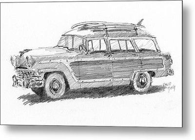 Ford Wagon Sketch Metal Print