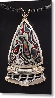 Fordite Time Travel Necklace Metal Print by Marie-Claire Dole