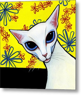 Foreign White Cat Metal Print by Leanne Wilkes