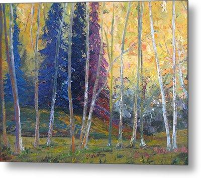 Forest At Twilight Metal Print by Belinda Consten