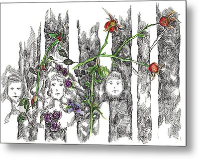 Metal Print featuring the drawing Forest Faces by Cathie Richardson