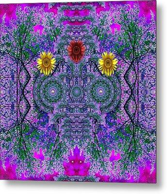 Forest  Flower Skull Metal Print by Pepita Selles