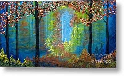 Forest Glow Metal Print by Rebecca Parker