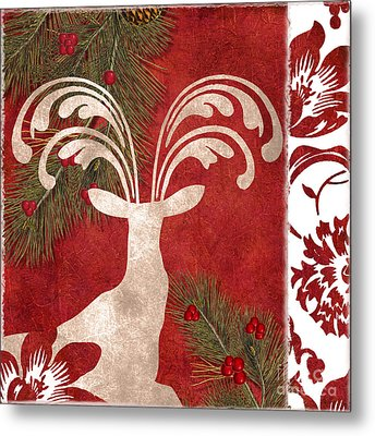 Forest Holiday Christmas Deer Metal Print by Mindy Sommers