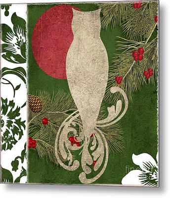Forest Holiday Christmas Owl Metal Print by Mindy Sommers