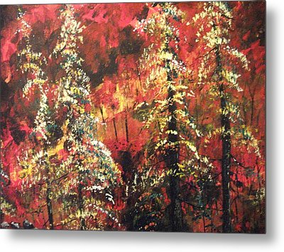 Metal Print featuring the painting Forest In The Red by Dan Whittemore