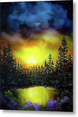 Forest Lake In Twilight Metal Print