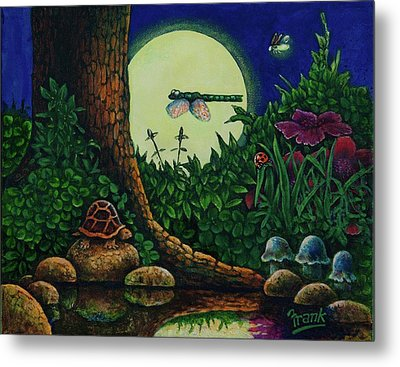 Metal Print featuring the painting Forest Never Sleeps Chapter- Full Moon by Michael Frank