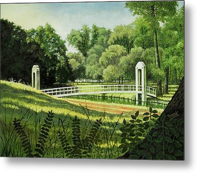 Metal Print featuring the painting Forest Park Footbridge by Michael Frank