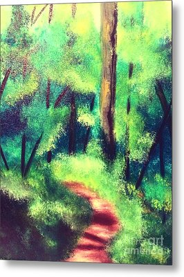 Metal Print featuring the painting Forest Path by Denise Tomasura