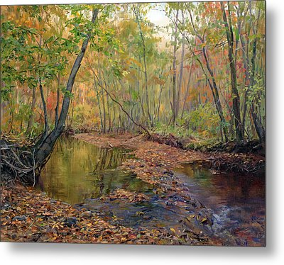 Forest River In Early Fall Metal Print