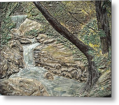 Forest Waterfall Metal Print by Doris Lindsey