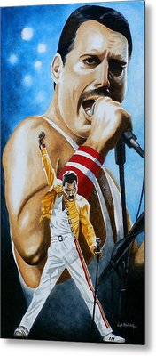 Metal Print featuring the painting Forever Freddie Mercury by Al  Molina