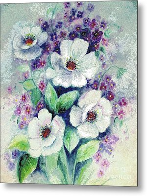 Forget-me-knots And Roses Metal Print