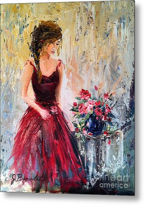 Metal Print featuring the painting Forgotten Rose by Jennifer Beaudet