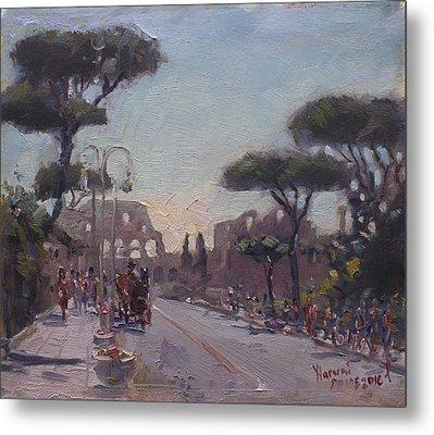 Fori Romani - Street To Colosseo Metal Print by Ylli Haruni