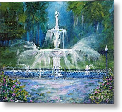 Forsyth Fountain In Savannah Metal Print
