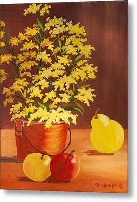 Forsythia Flowers And Fruit Sold Metal Print by Ruth  Housley
