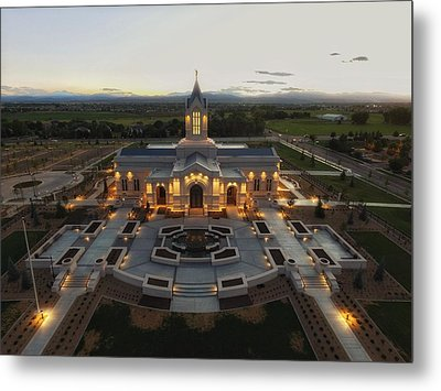 Fort Collins Glow    Lds Temple Metal Print by David Zinkand