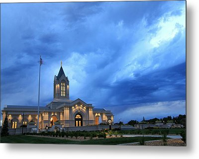 Fort Collins Lds Temple Blue Clouds Metal Print by David Zinkand