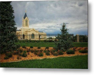 Fort Collins Lds Temple Se Landscape Side Metal Print by David Zinkand